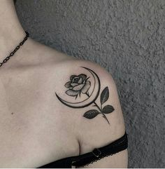 Moon-Rose shoulder tattoo  Tag someone who'd love it Tag us and follow for more…