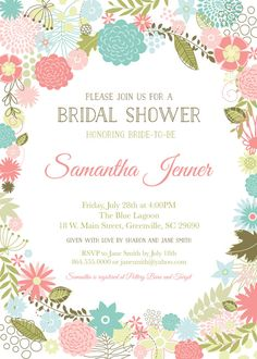 I am in LOVE with this beautiful Bridal Shower invite!! Jennafer with Oh Creative One has done such an outstanding job with this! Hop on over to her shop to see all of her amazing designs!