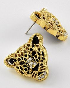 Gold Tone / Black Acrylic / Lead Compliant / Animal / Leopard Buttons / Post Earring Set