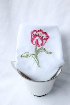 Dark Pink Tulip Hand Embroidered Handkerchief by veryprettythings, $10.00