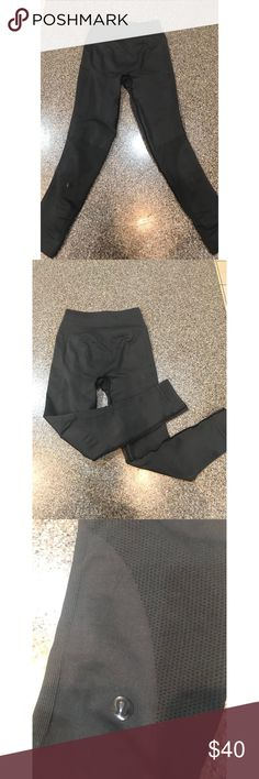Black flow and go LuluLemon seamless leggings Black LuluLemon seamless leggings, got these leggings on posh they are in absolutely great condition, to small and they do not fit me. Willing to trade for other active leggings. lululemon athletica Pants Leggings