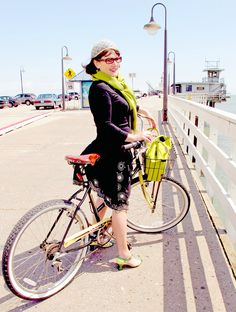 vintage bicycle girl on the wharf photo by ridingpretty