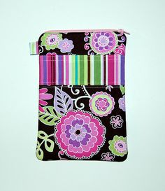 Orchid Boho Blossom and Kiwi Stripes - iPad Mini / Kindle Fire HD / Kindle Fire / Nook Color Tablet / Nexus 7 Padded Cover on Etsy, $23.95