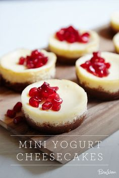 Mini Yogurt Cheesecakes via @PureWow || A lighter take on a classic treat, and in perfect mini snack portions.