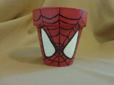 The kind of superhero flower pot that was inspired by one who was bitten by a radioactive spider. And one that contains spiders, too. Clay Pot Crafts, Diy Crafts, Spiderman, Flower Pot Design, Crafts For Kids To Make, Painted Pots, Clay Pots, Summer Crafts, Craft Projects