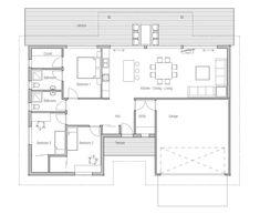 maison design modern-house-ch100 10 Small Modern House Plans, Small House Design, Modern House Design, Modern Houses, Small Houses, Garage House Plans, Small House Plans, House Floor Plans, Ranch Style Homes