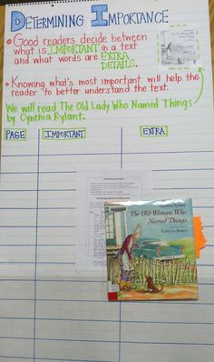 Determining Importance - Anchor Chart - Think Aloud - The Old Woman Who Named Things by Cynthia Rylant---Great for Independent Reading as well. Reading Lessons, Reading Skills, Teaching Reading, Guided Reading, Teaching Ideas, Reading Resources, Learning, Readers Workshop, Writing Workshop