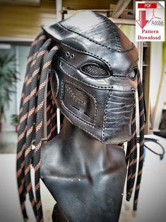 Diy Leather Mask, Leather Armor, Leather Craft, Dreads, Edmonton Oilers, Predator Helmet, Cool Masks, Creepy Masks, Skull Face Mask
