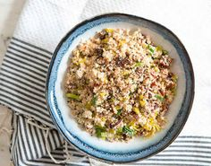 "Cauliflower ""Cous Cous"" with Leeks and Sundried Tomatoes 