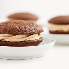 Chocolate whoopie pies with a peanut butter and dulce de leche buttercream for National Peanut Butter Day!