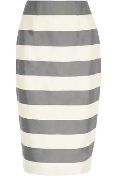 Burberry London Striped silk and cotton-blend faille midi skirt #Burberry