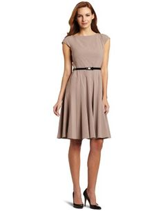 #Ak Anne Klein Women's Stretch Honeycomb Belted Swing #Dress              http://amzn.to/H6bA4g