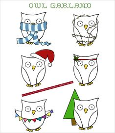 printable  (can be used to make an owl garland)