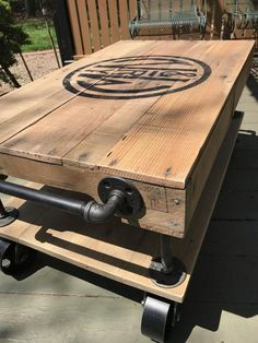 Industrial Railroad Coffee Table Cart with Shelf - Interior Decoration Accessories coffee tables Decor, Pallet Diy, Build A Farmhouse Table, Wood Coffee Table Rustic, Industrial Coffee Table, Colorful Furniture, Cart Coffee Table, Coffee Table, Diy Pallet Projects