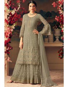Light Green & Off White Designer Heavy Embroidered Net Sharara Suit - Moda Femminile Indian Gowns Dresses, Pakistani Dresses, Indian Outfits, Pakistani Suits Online, Emo Outfits, Trendy Outfits, Sharara Designs, Kurti Designs Party Wear, Designer Suits Online
