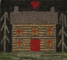 HAND-MADE-PRIMITIVE-HOOKED-RUG-LOG-CABIN-FOLK-ART-EARLY-STYLE