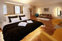 Prague hotel At the Three Storks- our room! Prague Hotels, Best Hotels, Prague Accommodation, Luxury, Storks, Bed, Table, Furniture, Rooms