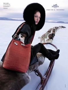 The Terrier and Lobster: Hermes Fall/Winter 2008 and 2009 Print Campaigns: Mariacarla Boscono and Raquel Zimmermann by Eric Valy Raquel Zimmermann, Russian Beauty, Hermes Bags, Outdoor Woman, Skiing, Snowboarding, Fashion Brands, Women's Fashion, Terrier