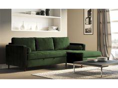 Canapé d'angle droit convertible 3 places en velours MARLOW coloris vert forêt - Vente de Canapé d'angle - Conforama