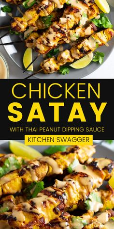 This Chicken Satay is a Southeast-Asian-inspired chicken skewer that's marinated and grilled to perfection. Serve it with a Thai peanut dipping sauce for a non-authentic, but delicious dinner.