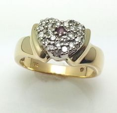 Vintage 18K Solid Gold Diamonds and Ruby Heart Shape Ring 6.6 gr size 6 #Heart #ring #valentinesday
