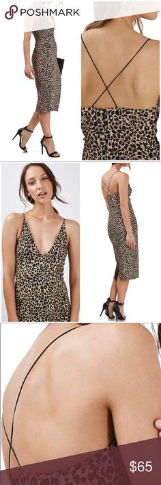 "Topshop Animal Print Plunge Bodycon Dress NWT Animal Print Plunge Bodycon Midi Dress This '90s-inspired stretch-crepe body-con dress has a provocative plunging bodice, satiny crisscross straps and leopard spots for a wild statement.  Hidden back-zip closure V-neck Spaghetti straps Partially lined Approx. 42.5"" length 98% viscose, 2% elastane Machine wash cold, line dry Fits true to size. Flat lay measurements: Bust: 15.5"" Waist: 13"" Hip: 16.5"" Flare: 19"" Strap to hem: 42"" Waist to hem: 26.5""…"