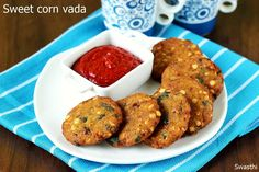 Sweet corn vada recipe How to make corn masala vada via Tasty Vegetarian Recipes, Snack Recipes, Cooking Recipes, Breakfast Recipes, Indian Snacks, Indian Food Recipes, Corn Patties, Sweet Corn Recipes, How To Make Corn