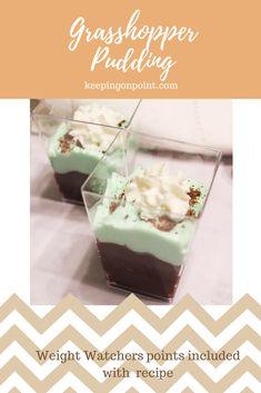 Grasshopper Pudding - Weight Watchers Recipes - 2 Freestyle Points. #weightwatchers #weightwatchersrecipes #pudding