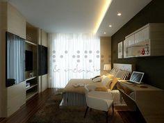 Simple false ceiling, concealed TV storage