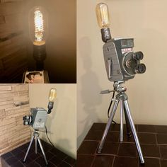 Mid Century 8mm Movie Camera Lamp on Tripod
