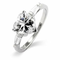 Heart Shaped CZ Sterling Silver Promise Ring Eve's Addiction. $42.00. Approximate Weight: 3.2 grams. TCW: 2 carat heart shaped center stone. Metal Finish: rhodium-finished-sterling-silver