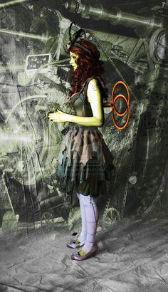 Redheaded, steampunk, wind-up Absinthe fairy.