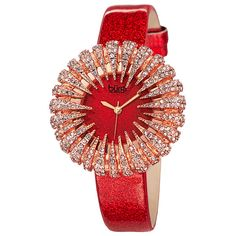 Womens Burgi Ladies Quartz Strap Bracelet Watch BURGP112RD ($87) ❤ liked on Polyvore featuring jewelry, watches, jewelry & watches, red, women's watches, red jewelry, leather-strap watches, stone jewelry, burgi watches and sparkle jewelry
