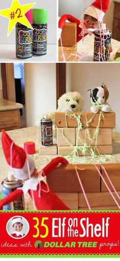 Silly string war between Elf on a Shelf and other toys