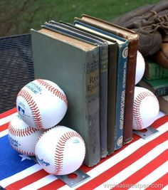 DIY Baseball Bookends - Learn how to make your own. Such a fun bedroom or office decor idea for the sports-lover in your home.