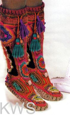 INSTANT DOWNLOAD - Vintage Retro 70s Hippie Crochet Freeform Boots - PDF Pattern Retro - ECO Footwear *** Please Note: This listing is for the Crochet Freeform Moccasin Boot pattern only, as shown in the first picture far left. Not for the hand painted leather boots, or spats as