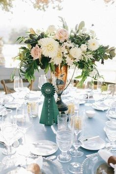 [Emerald Green and Gold Table Clothes, Old Equestrian Trophies, Equestrian Ribbons, White Peony/Rose/Magnolia Bouquets] (The Wedding Reception) Horse Wedding, Mod Wedding, Floral Wedding, Rustic Wedding, Dream Wedding, Wedding Ideas, Wedding Reception, Wedding Details, Wedding Themes
