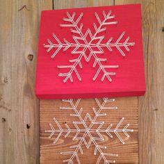 Snowflake String Art Winter String Art Winter Art Seasonal