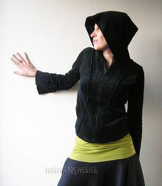 Cotton Velvet  Pixie Hoodie - Psy Jacket - Tribal - Goth - Elf - Black - Gothic - Hood - Women. $63.00, via Etsy.