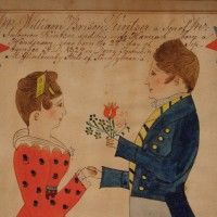 "A ""Taufschein"" – Birth and Baptismal Record in great condition with a wonderfully painted scene on it. c. 1828. From Mifflin County, PA  Watercolor on paper. In a period frame. Very fine folk art."