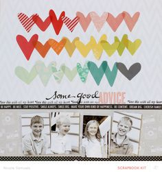 Some Good Advice *main kit only* by Nicole Samuels at 12x12 Scrapbook, Wedding Scrapbook, Scrapbook Sketches, Scrapbooking Layouts, Scrapbook Designs, Digital Scrapbooking, Multi Photo, Studio Calico, Layout Inspiration