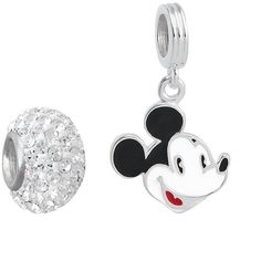 Disney Mickey Mouse Sterling Silver Crystal Bead and Charm Set ($100) ❤ liked on Polyvore featuring jewelry, pendants, white, charm jewelry, mickey mouse jewelry, white jewelry, beaded jewelry and mickey mouse charms