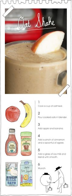 Oat Shake. I'm normally not a fan of oats and the like, but this looks yummy. #vegan #shake