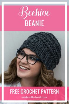 Complete your look with the Beehive Beanie made with love and from our easy to follow FREE Crochet Patterns even beginners can enjoy! Make your own winter hat today! #beehivebeanie #beehivehat #texturedhat #texturedbeanie #womenswinterhat #womenshat #ribbedhatpattern #crochetpattern #crochet #freecrochetpattern #winterhat #crochethat #crochetbeanie #beanie #unisex #men #women Crochet Puff Flower, Crochet Flower Patterns, Crochet Patterns For Beginners, Crochet Designs, Crochet Flowers, Crochet Ideas, Hat Patterns, Crochet Projects, Crochet Classes