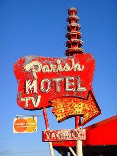 Parish Motel Sign | Rusty Vintage Neon Sign | Retro Red, White and Orange | 1950s Kitsch | 1960s Kitschy | Vintage Signage | Roadtrip