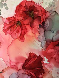 Mixed media resin abstract art by north carolina artist amanda moody art in Alcohol Ink Crafts, Alcohol Ink Painting, Alcohol Ink Art, Art Floral, Watercolor Flowers, Watercolor Art, Resin Art, Flower Art, Drawings