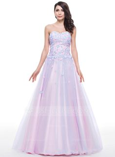 Ball-Gown Sweetheart Floor-Length Tulle Prom Dress With Beading Flower(s) Sequins (018059421)