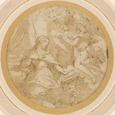 Verso: Design for a Ceiling Pen and brown ink, brown wash, over black chalk; squared in black chalk; framing line in pen and brown ink; cut to a circle; squared in black chalk. Giorgio Vasari, Morgan Library, Grisaille, Mural Painting, Fresco, Etchings, Drawings, Ceiling, Technology
