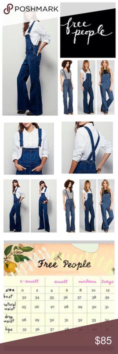 """Free People Teague Retro Denim Overalls.  NWOT.  Free People Blue Teague Retro Denim Overalls, 98% cotton, 2% spandex, machine washable, 30"""" waist, 12.5"""" front rise, 16"""" back rise, 29"""" inseam, 58.5"""" length from strap to hem, 21"""" leg opening all around, made from stretchy, gummy fabric these retro inspired overalls featured a flared leg and front back slip pockets, front bib pocket, two back pockets, hidden side zip button closure, adjustable straps, measurements are approx. New without tag…"""