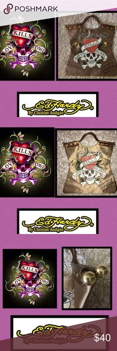 🆕Ed Hardy🖤☠️❤️Love Kills Slowly Satin Tote It is said,what gives us great joy❤️will also give us great pain💔 🖤Until you have seen someones darkness you dont know who they are🖤until you have forgiven someones darkness❤️you dont know what love really is❤️Corinthian's 13:13❤️Faith🙏🏼Hope🖤Love❤️The Greatest of all being 💘unconditional💕Love❤️is the key 2 unlocking all hearts ❤️riveted curved handle 🖤Gold Ball detailing ☠️inside zip pocket 🖤wall pocket ☠️original packaging 🖤high sheen…
